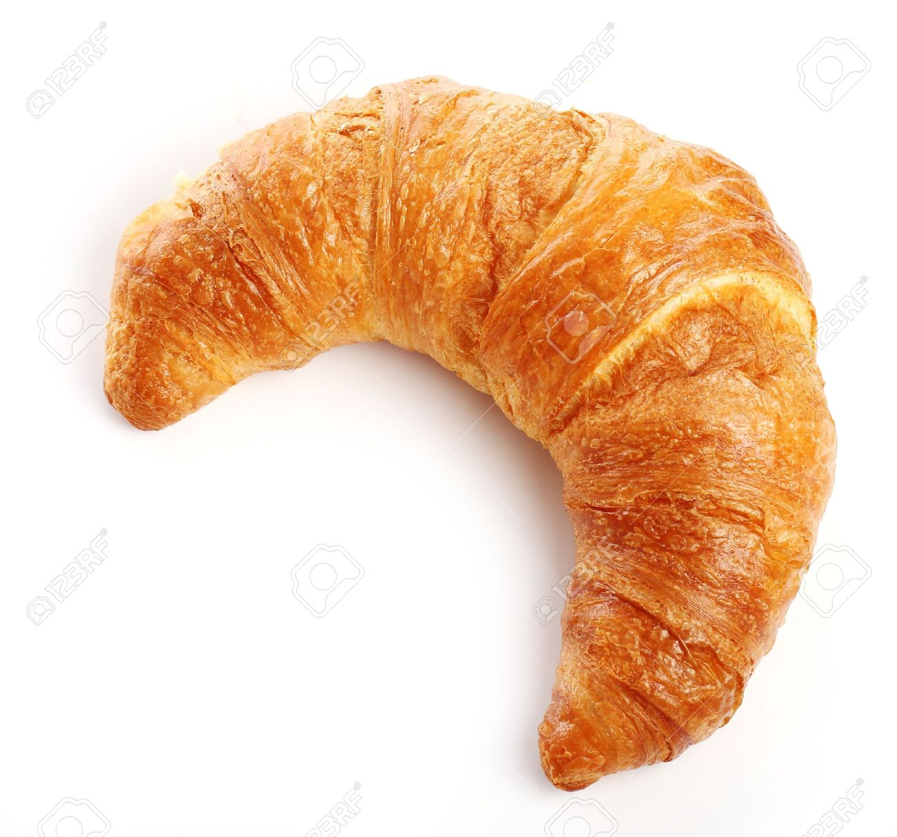 fresh and tasty croissant over white background stock photo picture