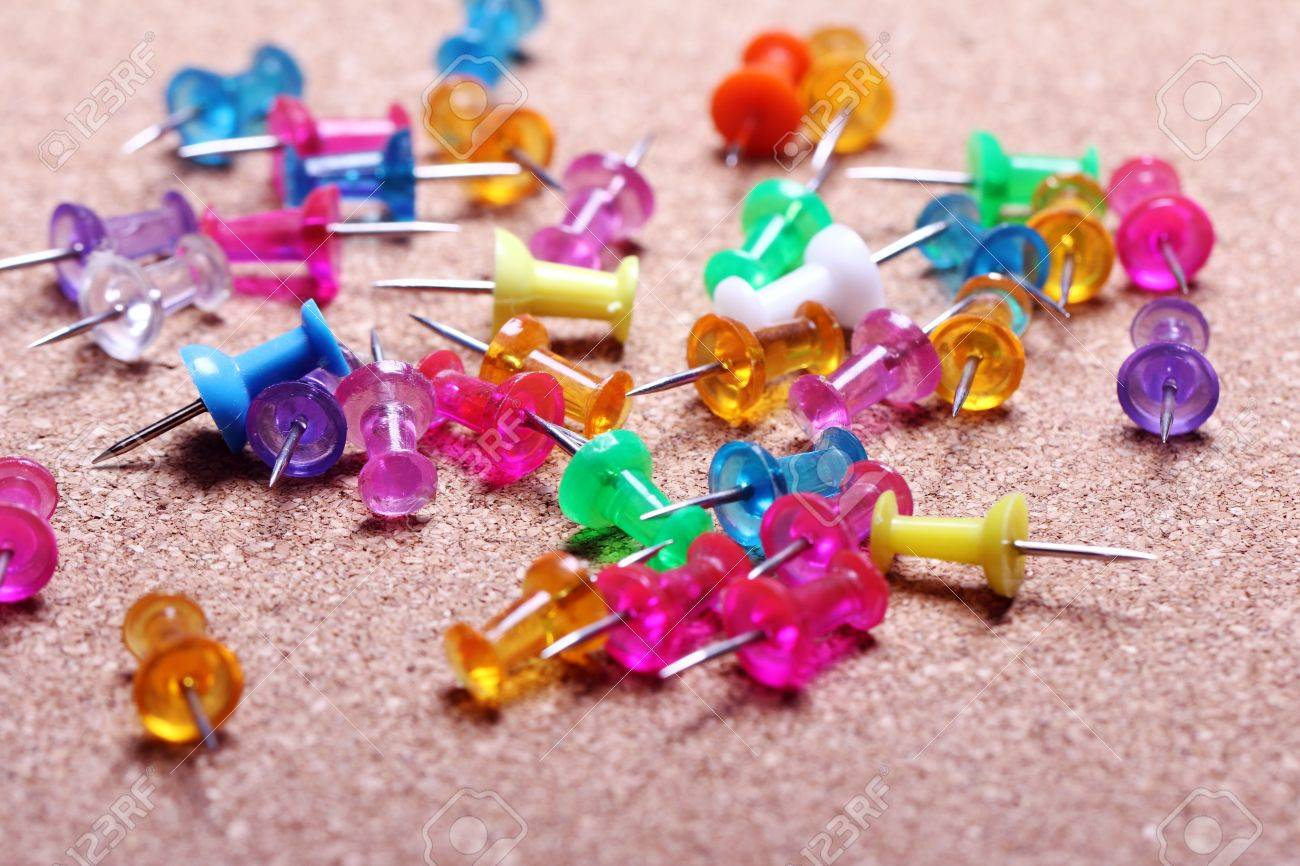 Colorful pins in cork board Stock Photo - 12630097