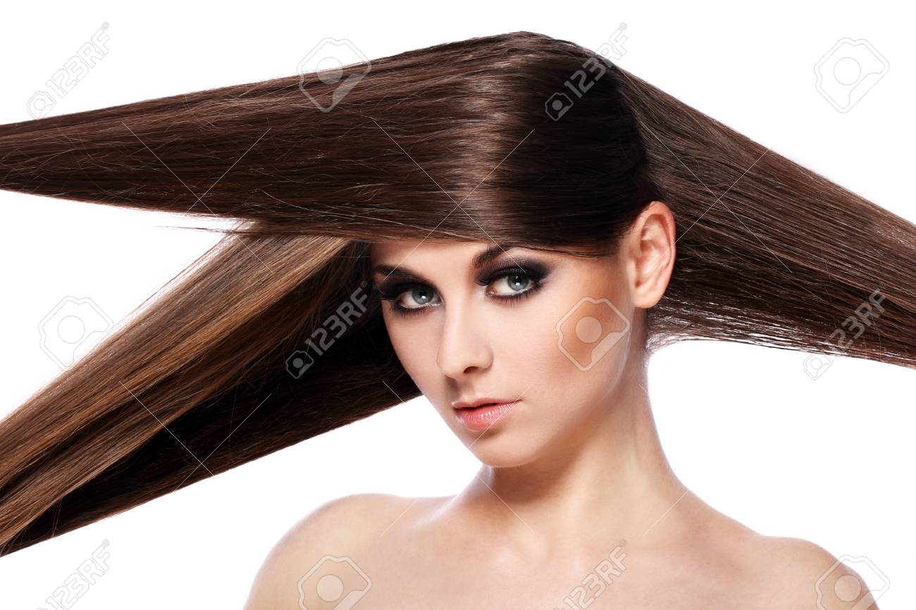 Young woman with beautiful hair over white bakcground Stock Photo - 14176166