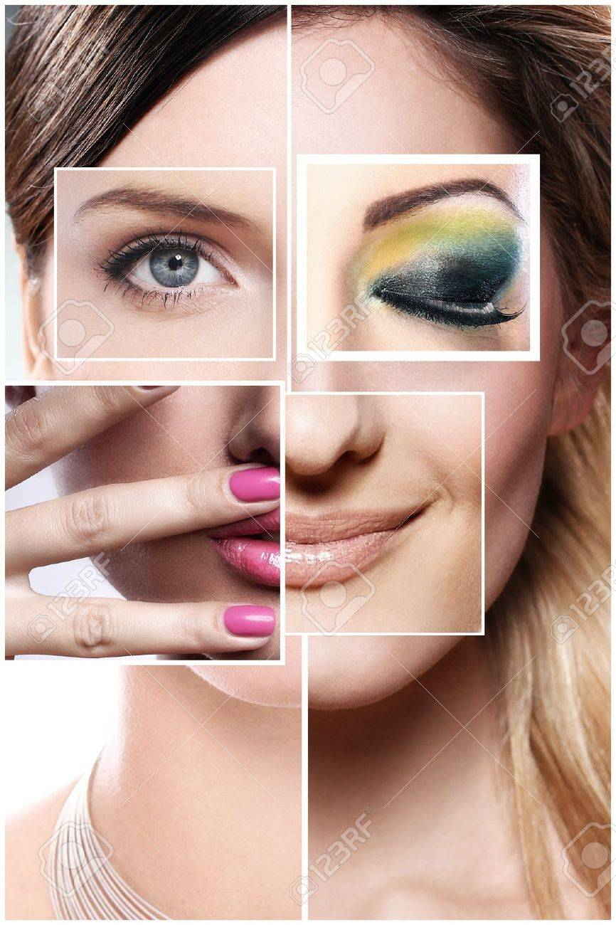 Creative beauty collage from different parts of face Stock Photo - 14780737