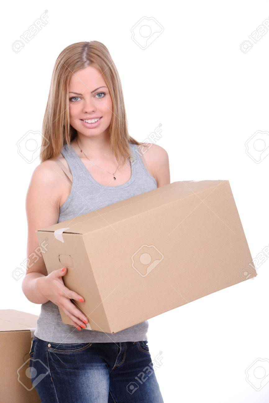 Young woman carrying cardboard box over white background Stock Photo - 14780704