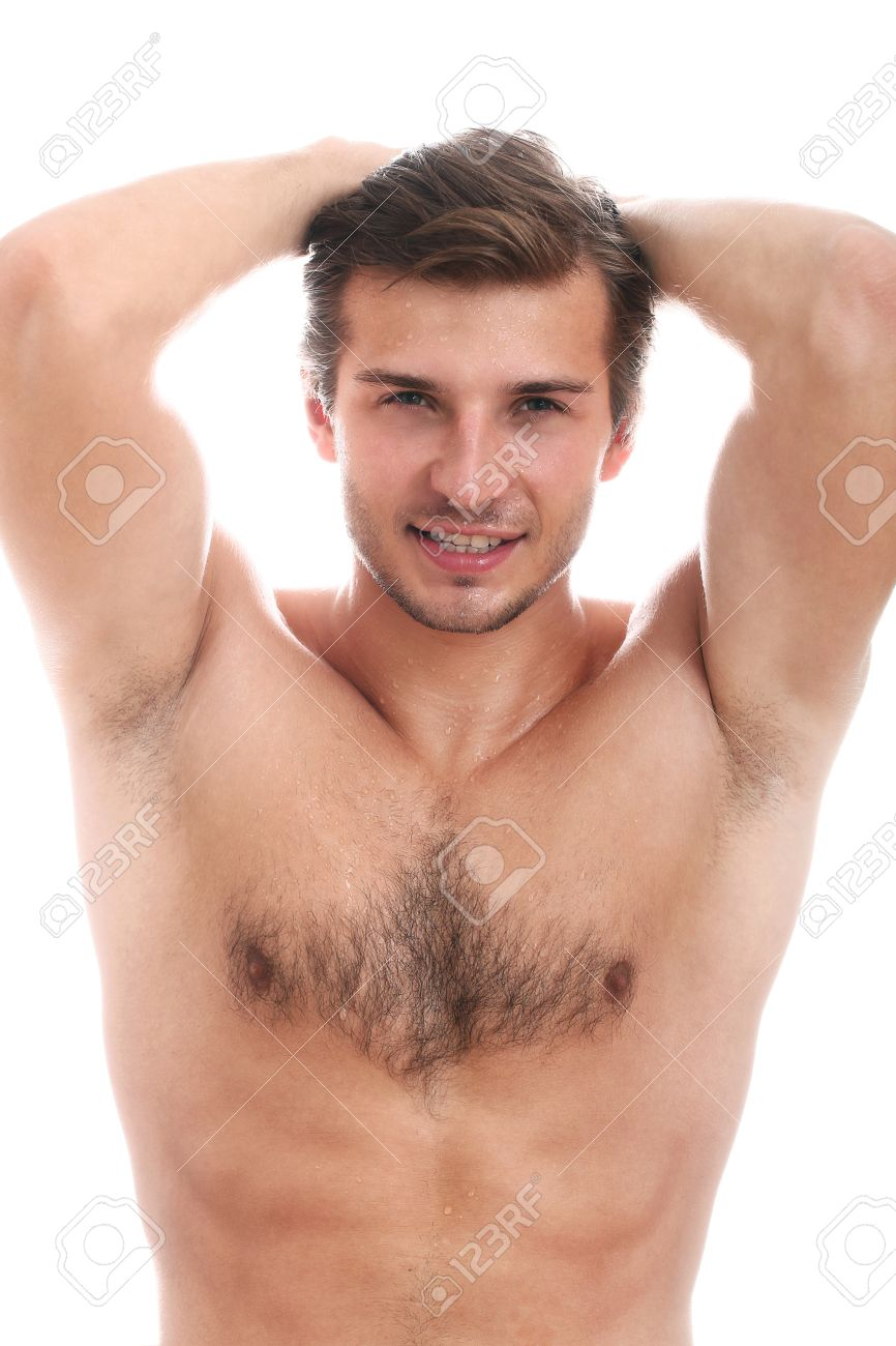 Handsome Guy With Naked Torso Isolated On A White