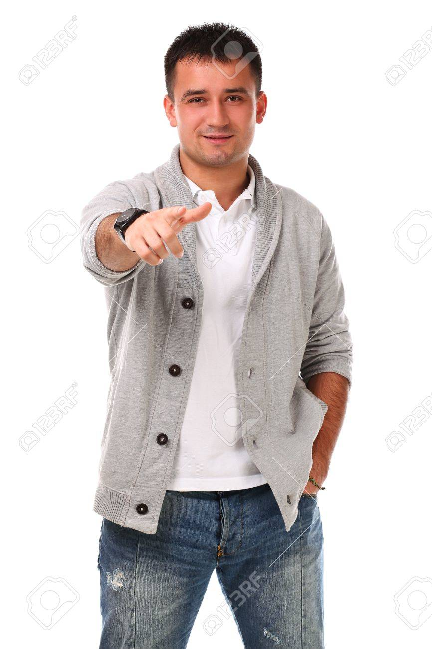 Young caucasian handsome man isolated over white background Stock Photo - 17133274
