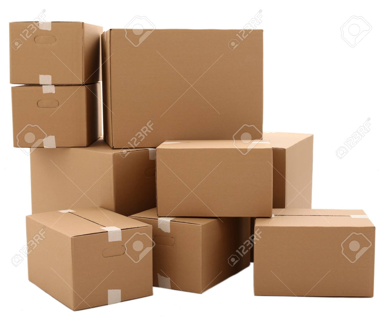 Cardboard boxes isolated over white background Stock Photo - 17721391