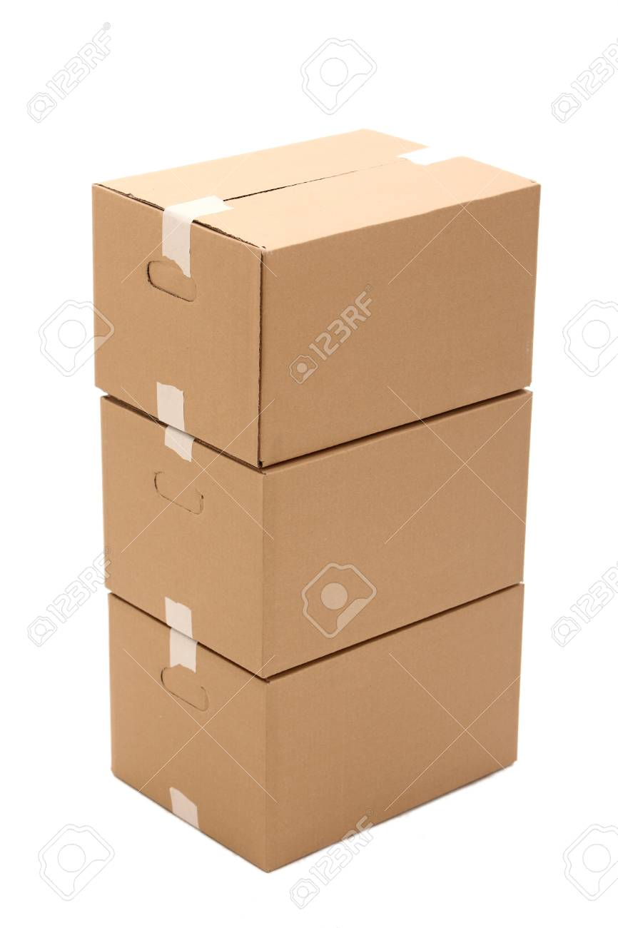 Cardboard boxes isolated over white background Stock Photo - 17721400