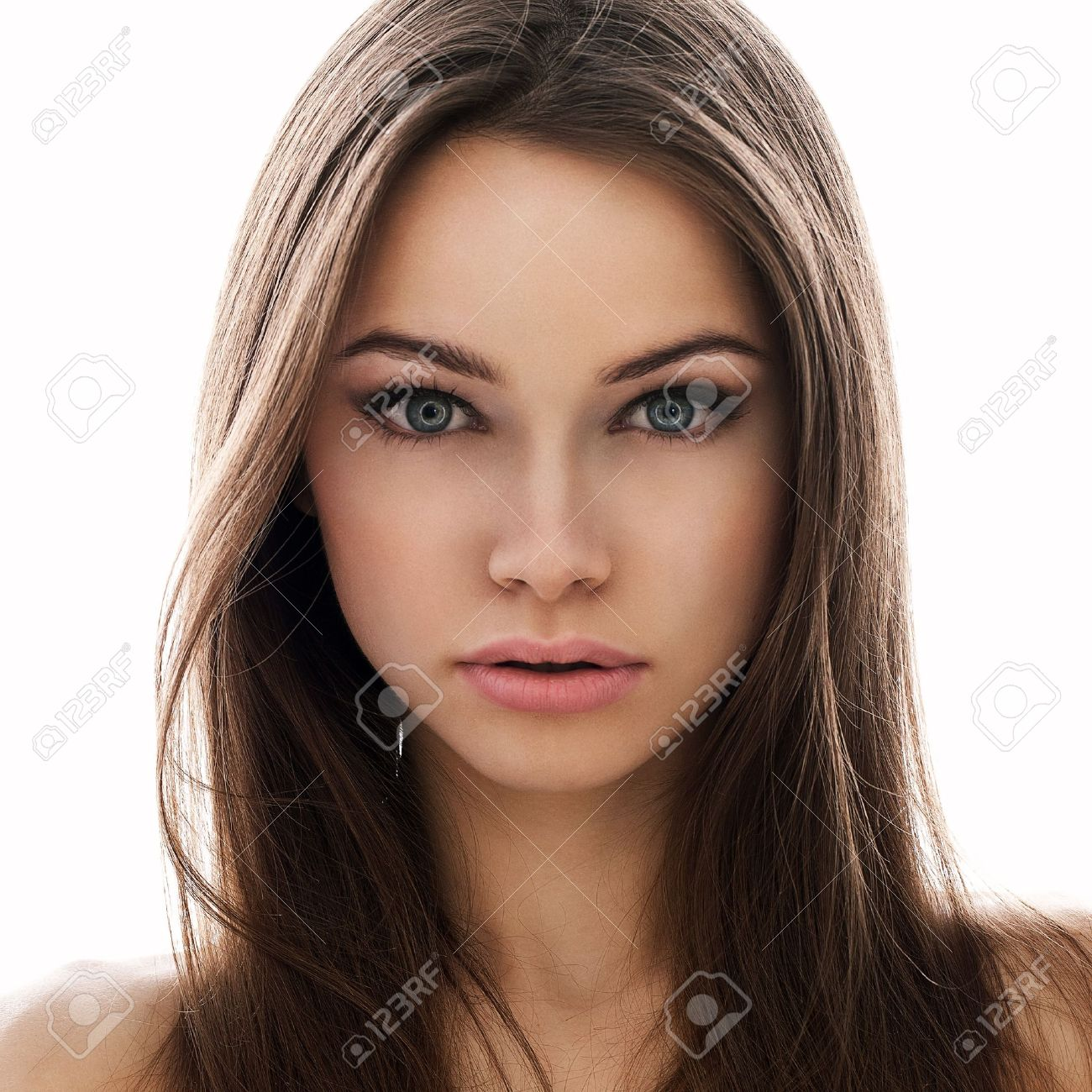 young attractive woman with big eyes stock photo picture and