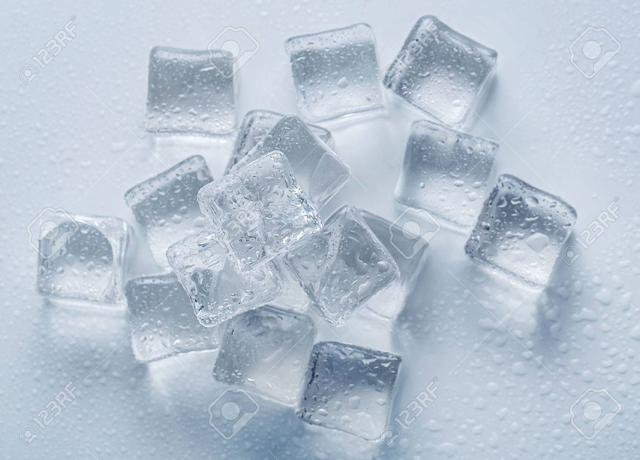 Frozen Ice Cubes On The Table Stock Photo