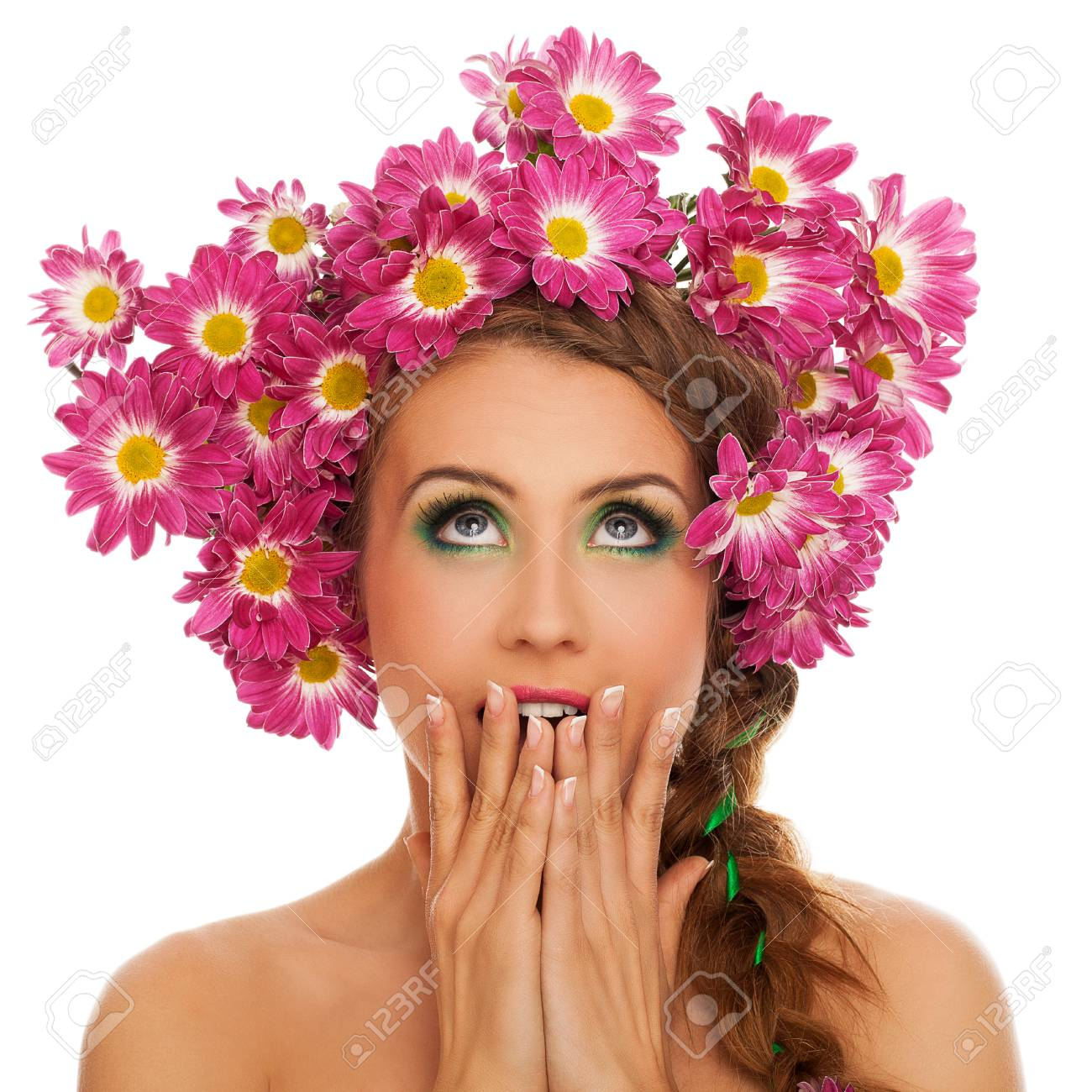 Beautiful Young Caucasian Woman With Flowers In Hair Isolated