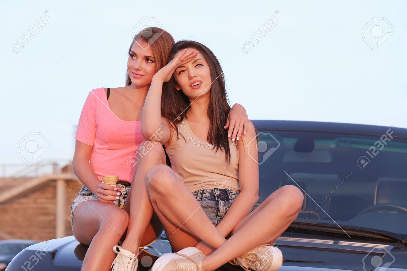 BFF. Two Cute Girls At Street Stock Photo, Picture And Royalty ...