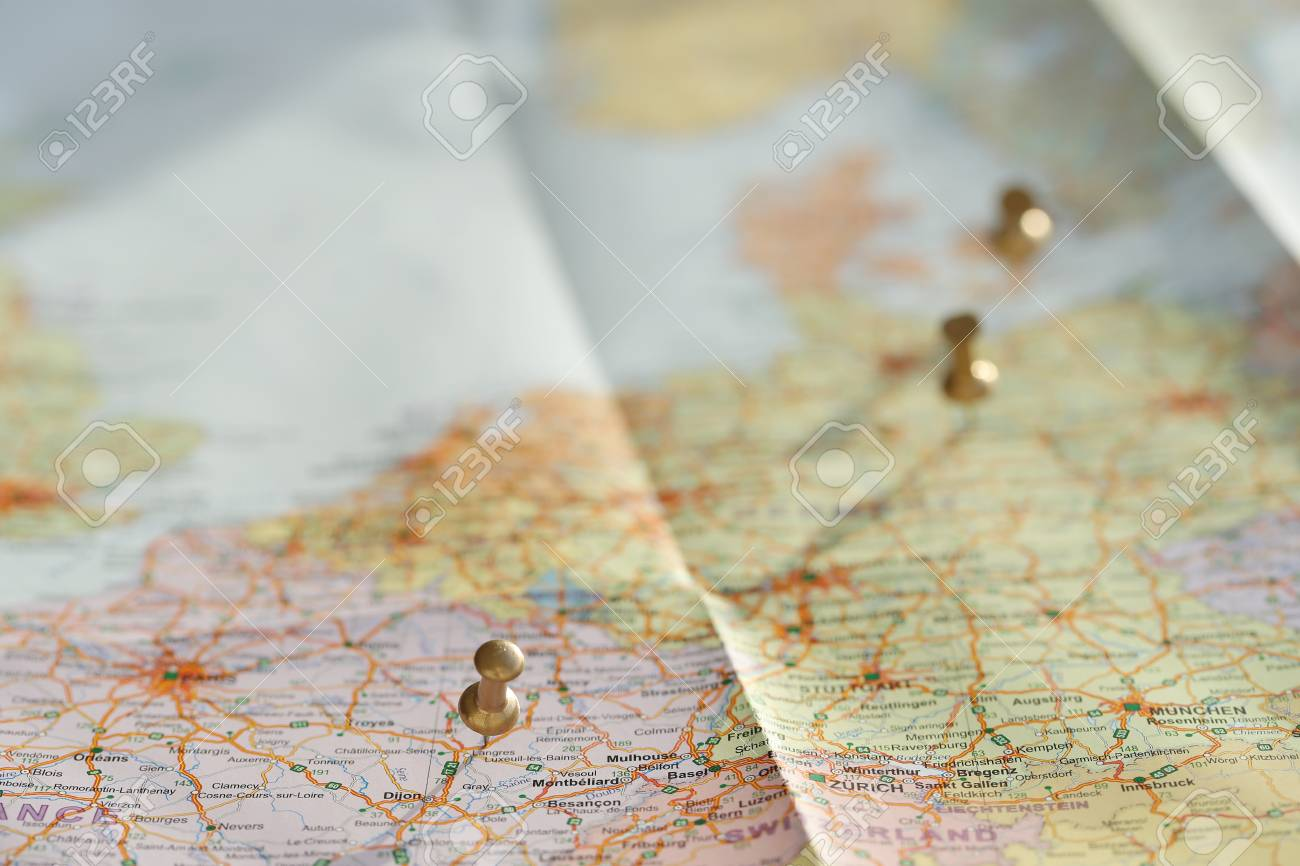 Travel Traveling Map On The Table Stock Photo Picture And Royalty