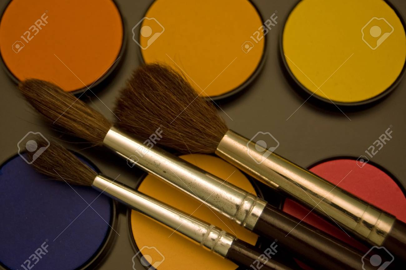 Water color and paint brushes Stock Photo - 15425490