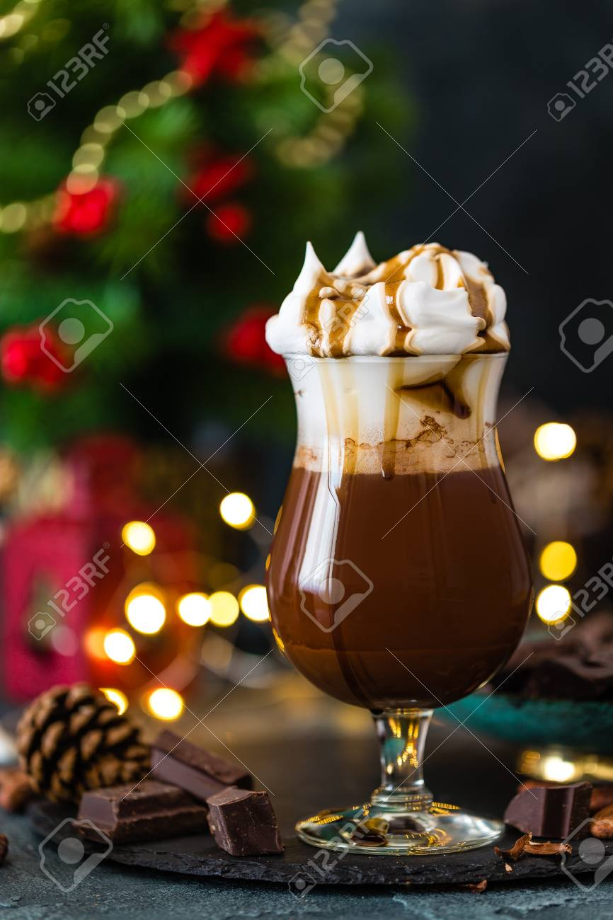 Hot chocolate with whipped cream. Chocolate drink and Christmas decorations - 108391191
