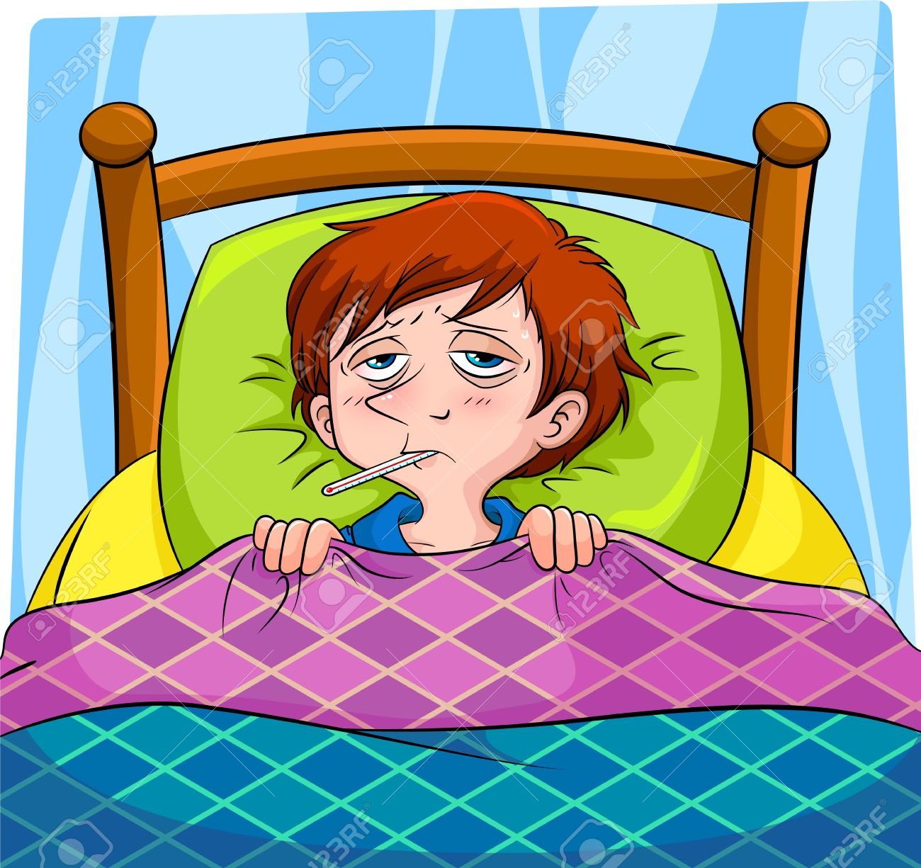 sick person lying in bed Stock Vector - 14226213