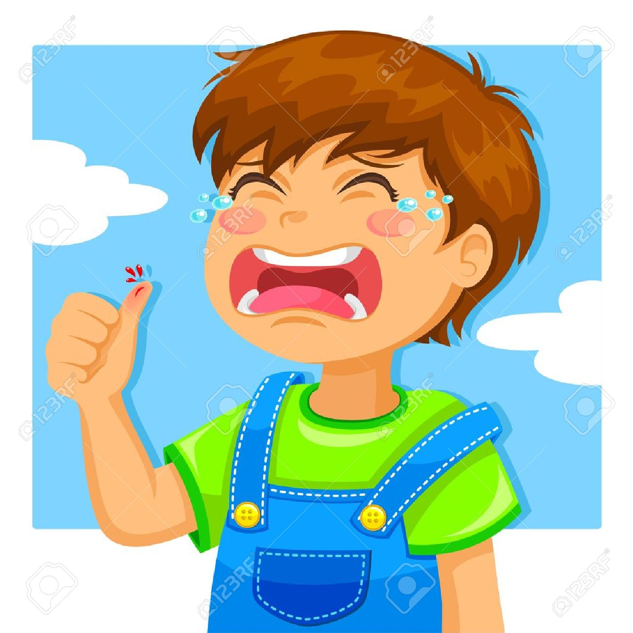 little boy crying because of a cut on his thumb Stock Vector - 14226209