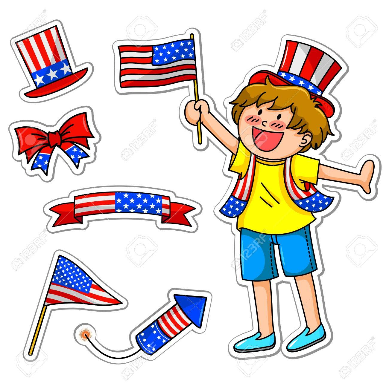 boy celebrating 4th of july, plus matching icons Stock Vector - 16511022