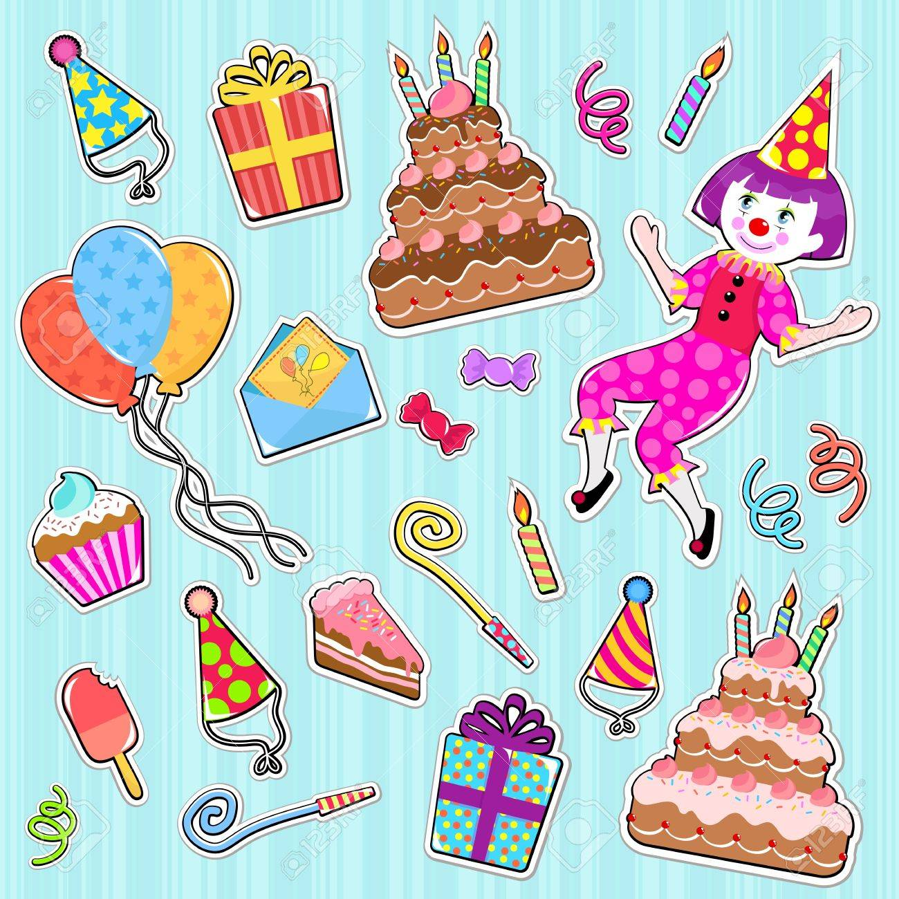 collection of cute birthday icons Stock Vector - 14395498