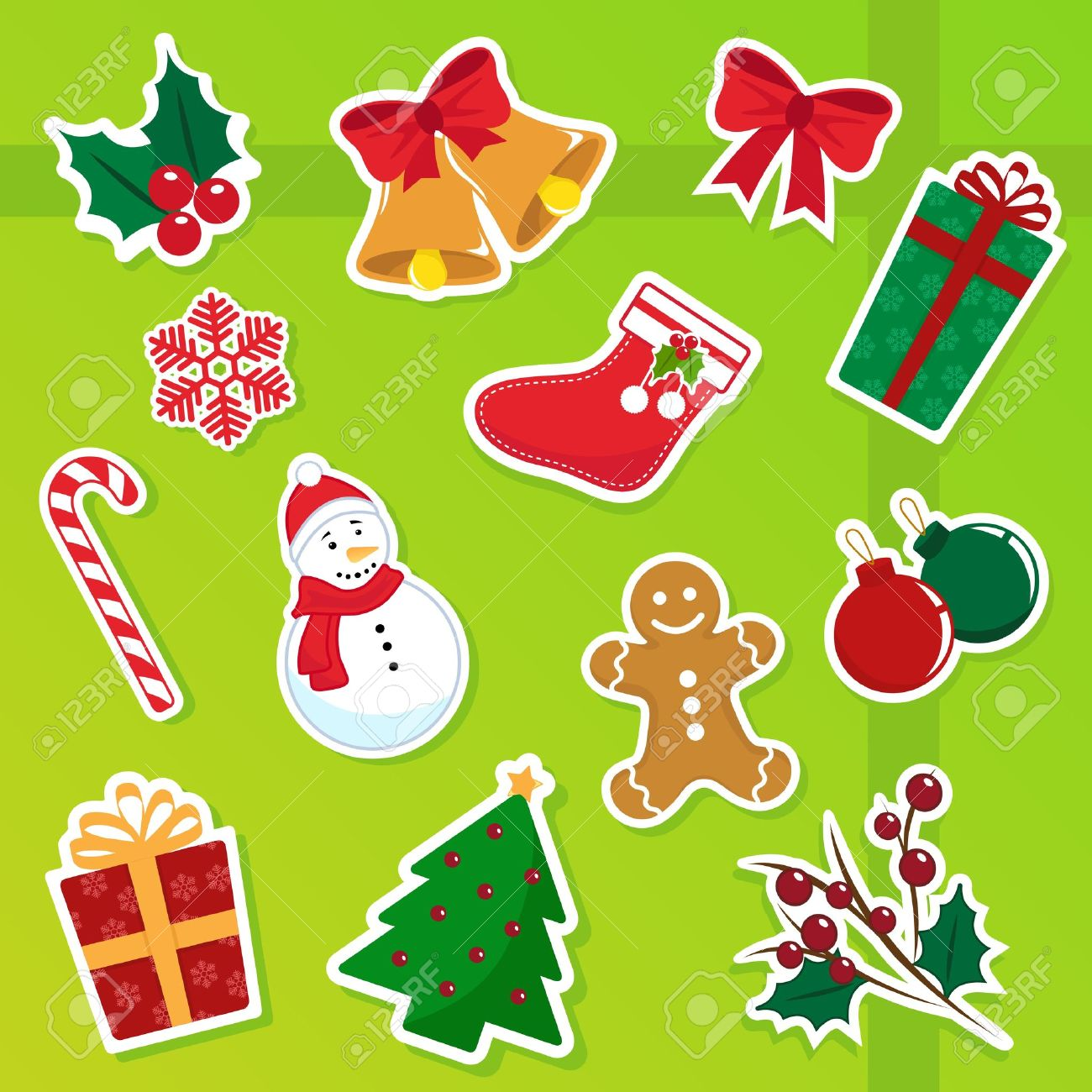 Collection Of Cute Christmas Icons Royalty Free Cliparts, Vectors ...
