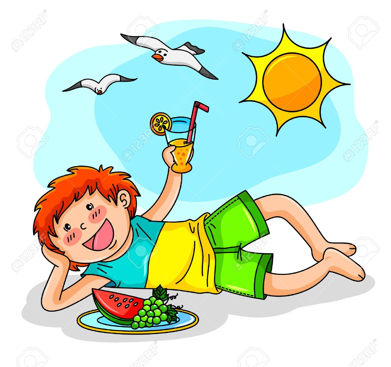 kid enjoying summer with fruit and juice royalty free cliparts rh 123rf com clip art of summer images clipart of summer flowers
