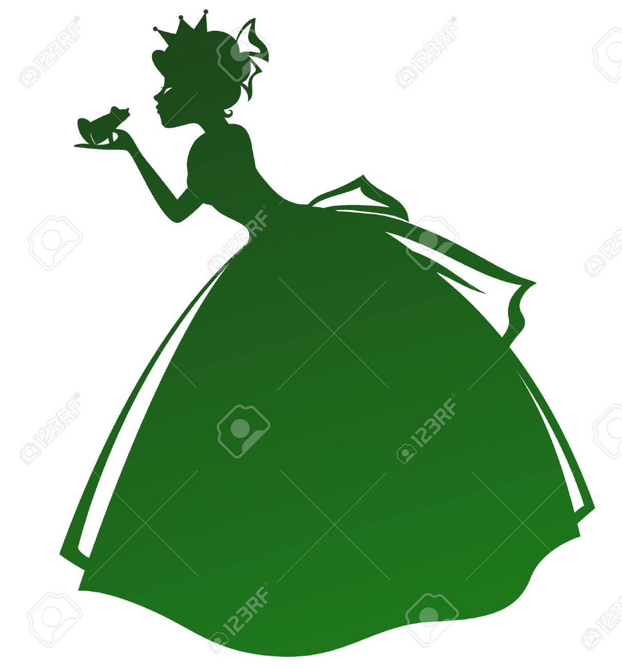 silhouette of a princess kissing a frog - 16511053