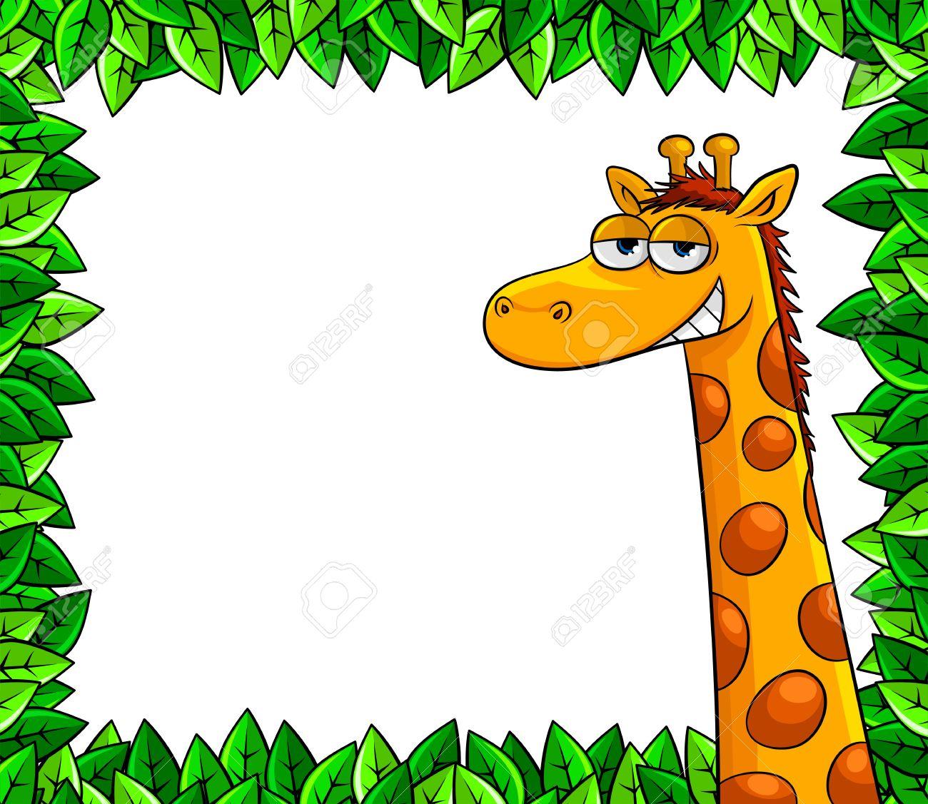 funny giraffe in a frame of leaves Stock Vector - 16511453
