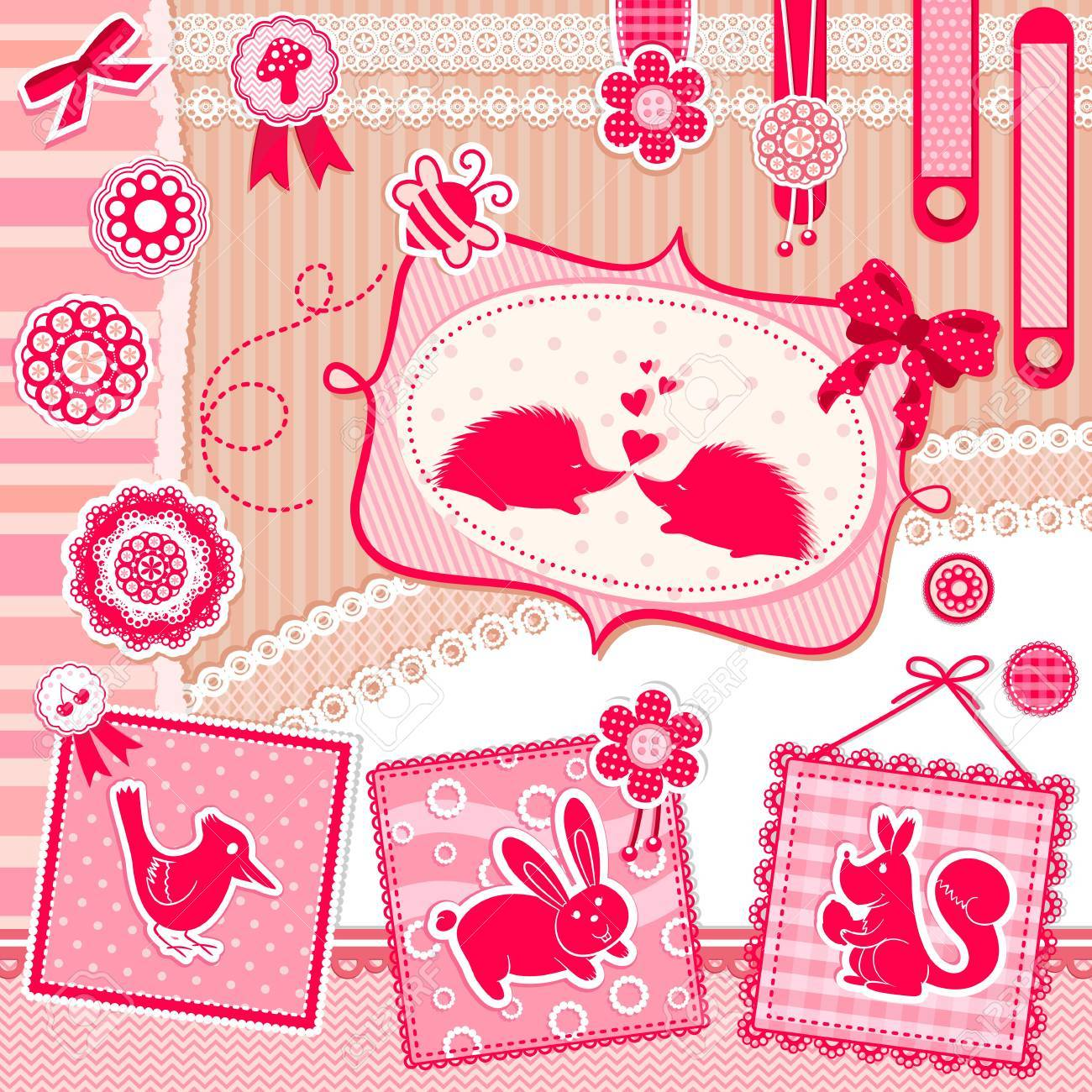 Set of cute design elements with animals and vintage style decorations Stock Vector - 16511548