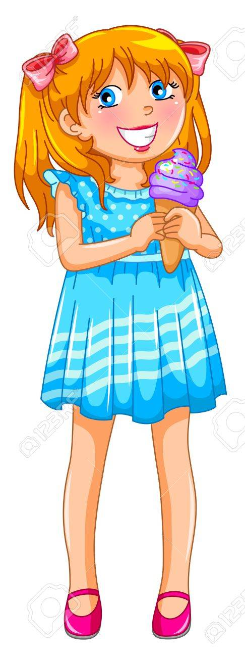 Young girl holding ice cream, isolated on white Stock Vector - 16511090