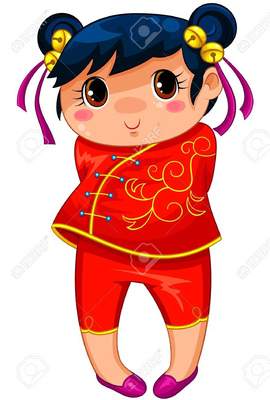 Kleine Chinesische Mädchen In Manga Stil Gezeichnet Lizenzfrei