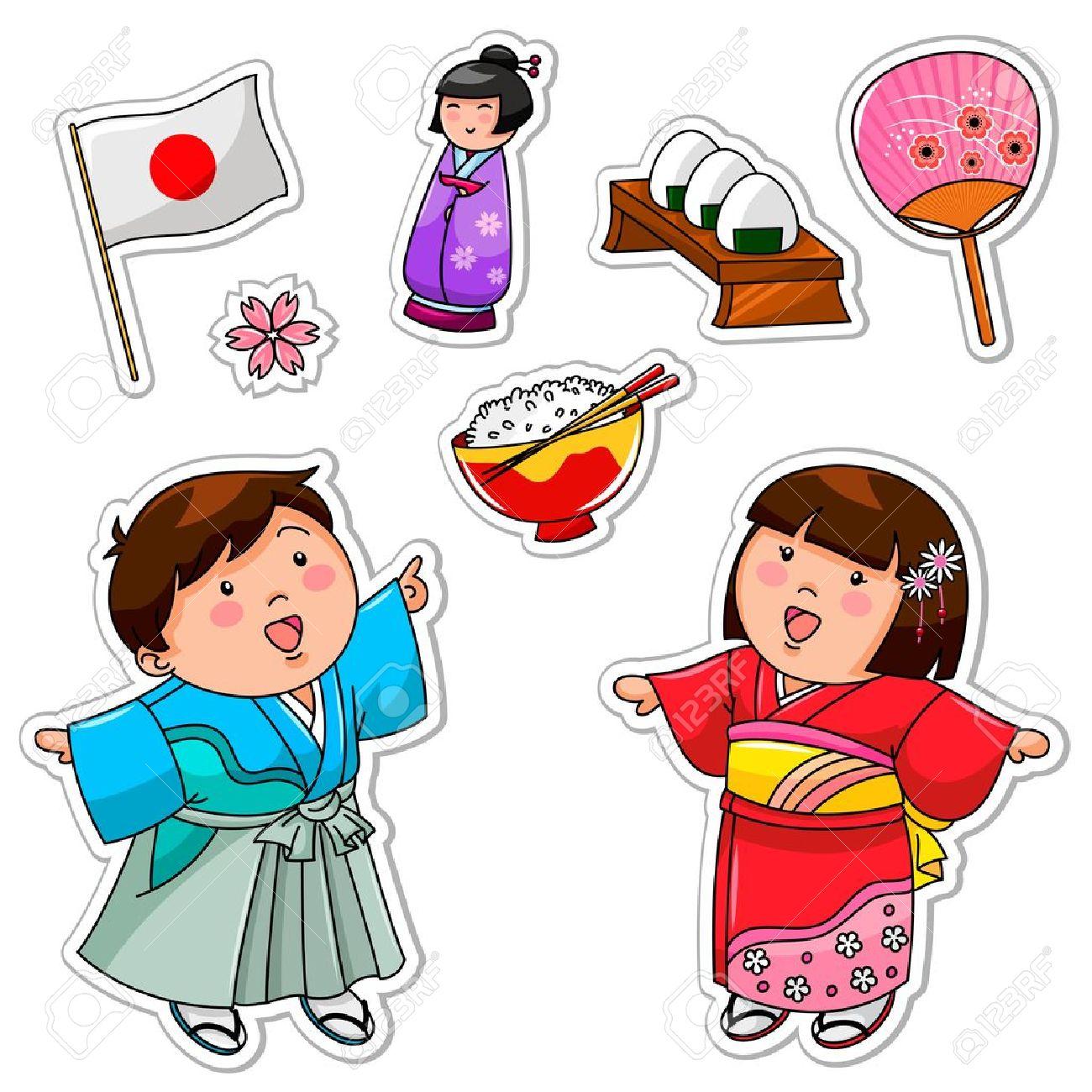 Juego De Ninos Japoneses Y Simbolos Ilustraciones Vectoriales Clip