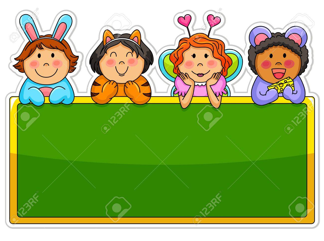 Kids wearing costumes leaning over a blank blackboard Stock Vector - 16525620