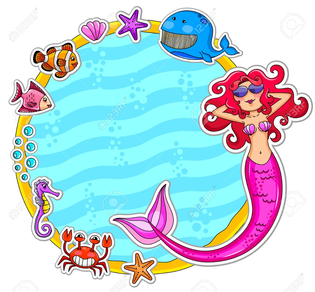 Frame with sea creatures and a mermaid wearing sunglasses Stock Vector - 16525632