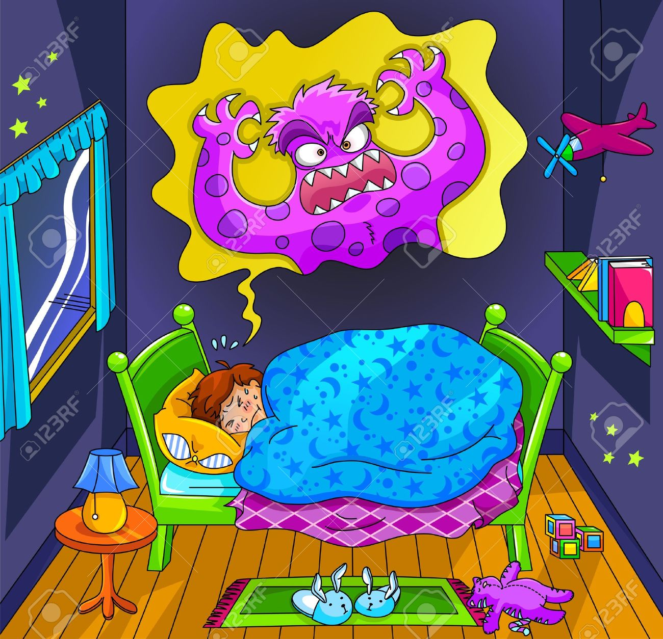 Scared little boy dreaming about a monster Stock Vector - 16525693