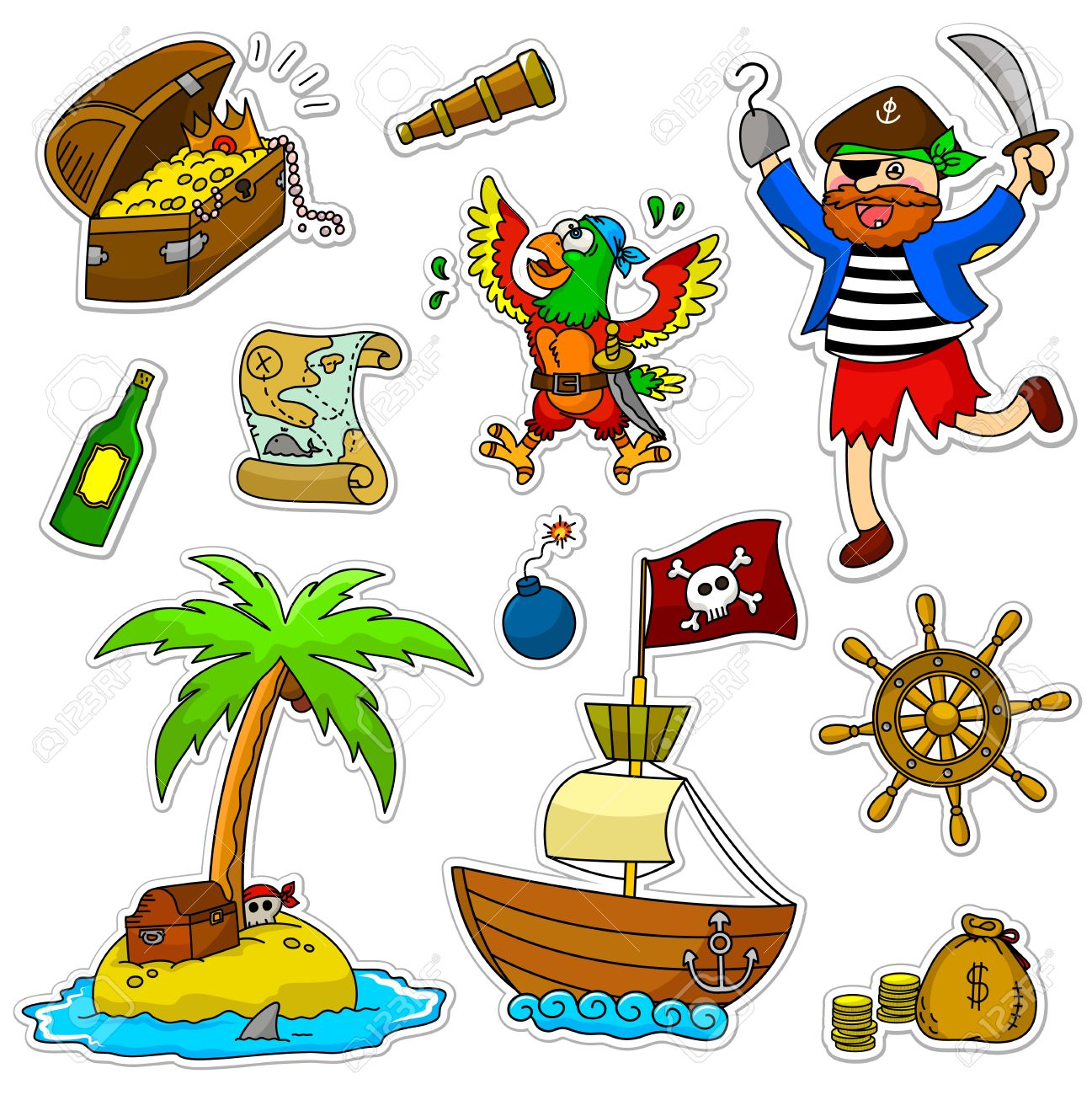 a set of pirate items Stock Vector - 16525726