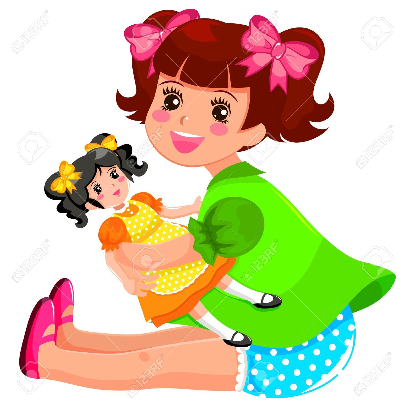 little girl playing with her doll royalty free cliparts vectors rh 123rf com doll clipart black and white doll clipart png