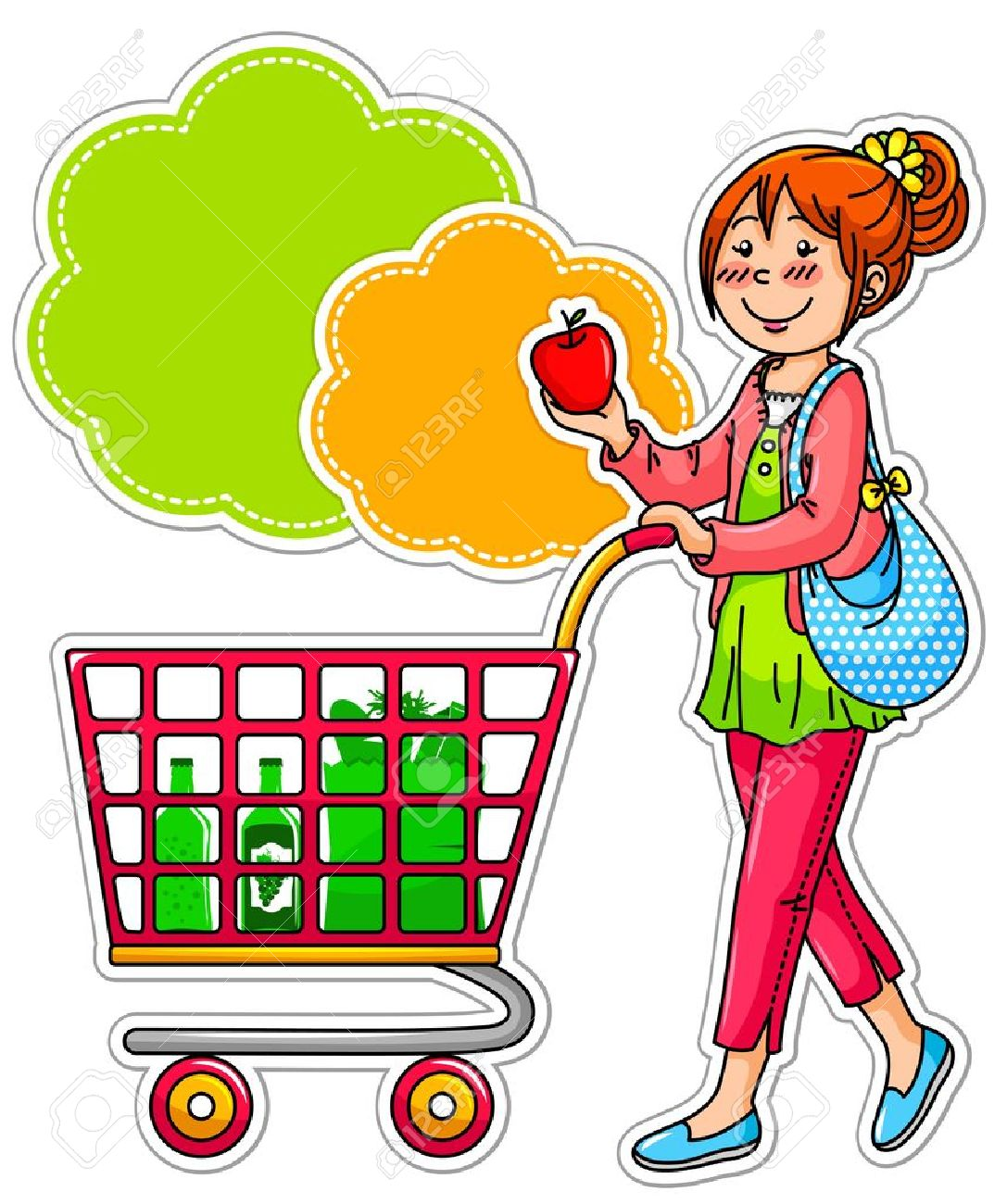 Chica de compras para grociries en el supermercado Foto de archivo - 16511334