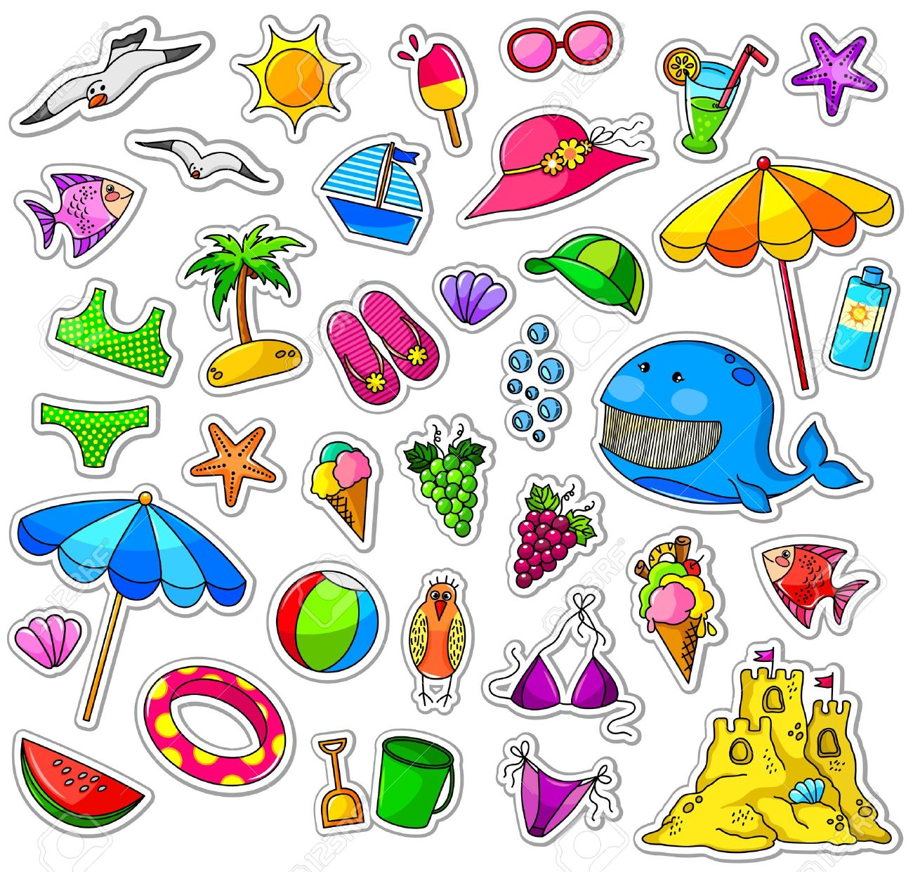 Big collection of summer icons Stock Vector - 16511462