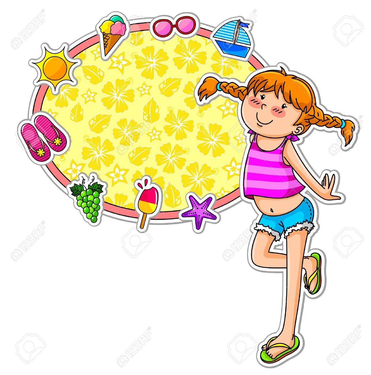 l in summer clothes standing next to a frame decorated with summer symbols Stock Vector - 16511518