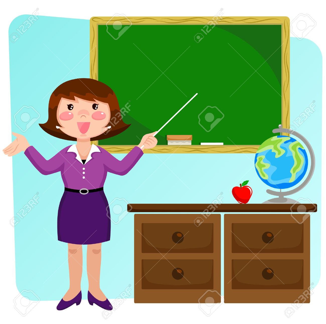 Teacher standing in a classrom and pointing at the blackboard Stock Vector - 16511069