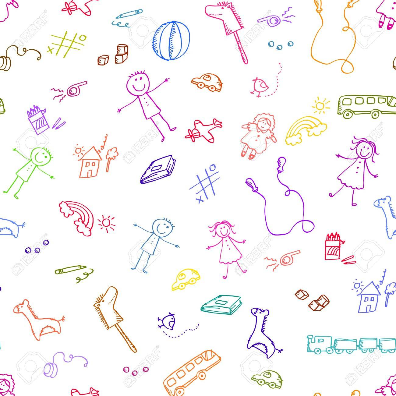 Seamless pattern with doodles of toys - 16511092