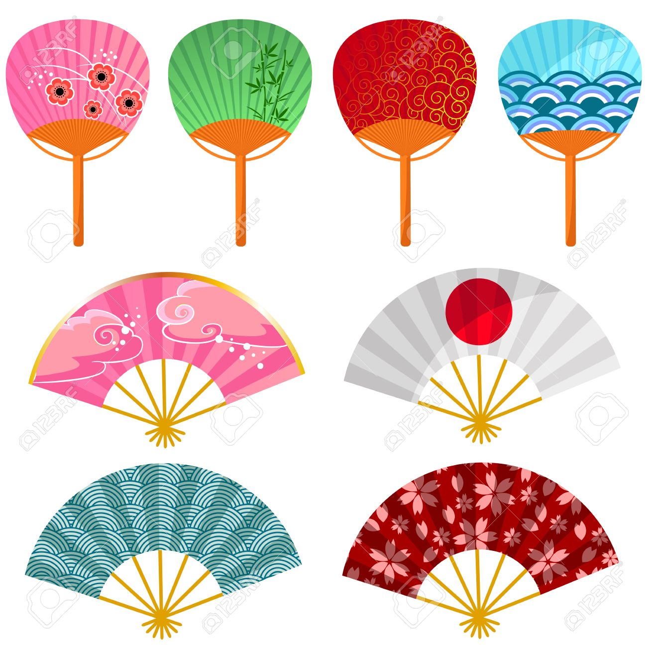 Set Of Decorated Japanese Fans Stock Vector