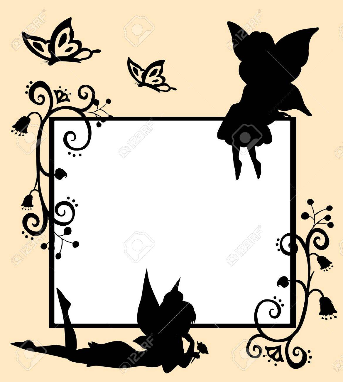 Frame with silhouettes of fairies, butterflies and flowers Stock Vector - 16570365
