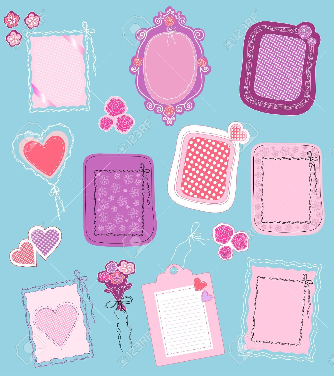 Collection Of Cute Frames And Design Elements Royalty Free Cliparts ...