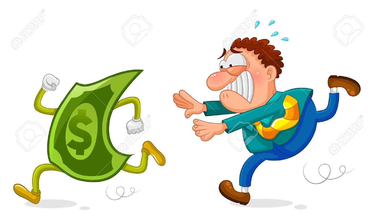 worker chasing a sneaky dollar Stock Vector - 17730763