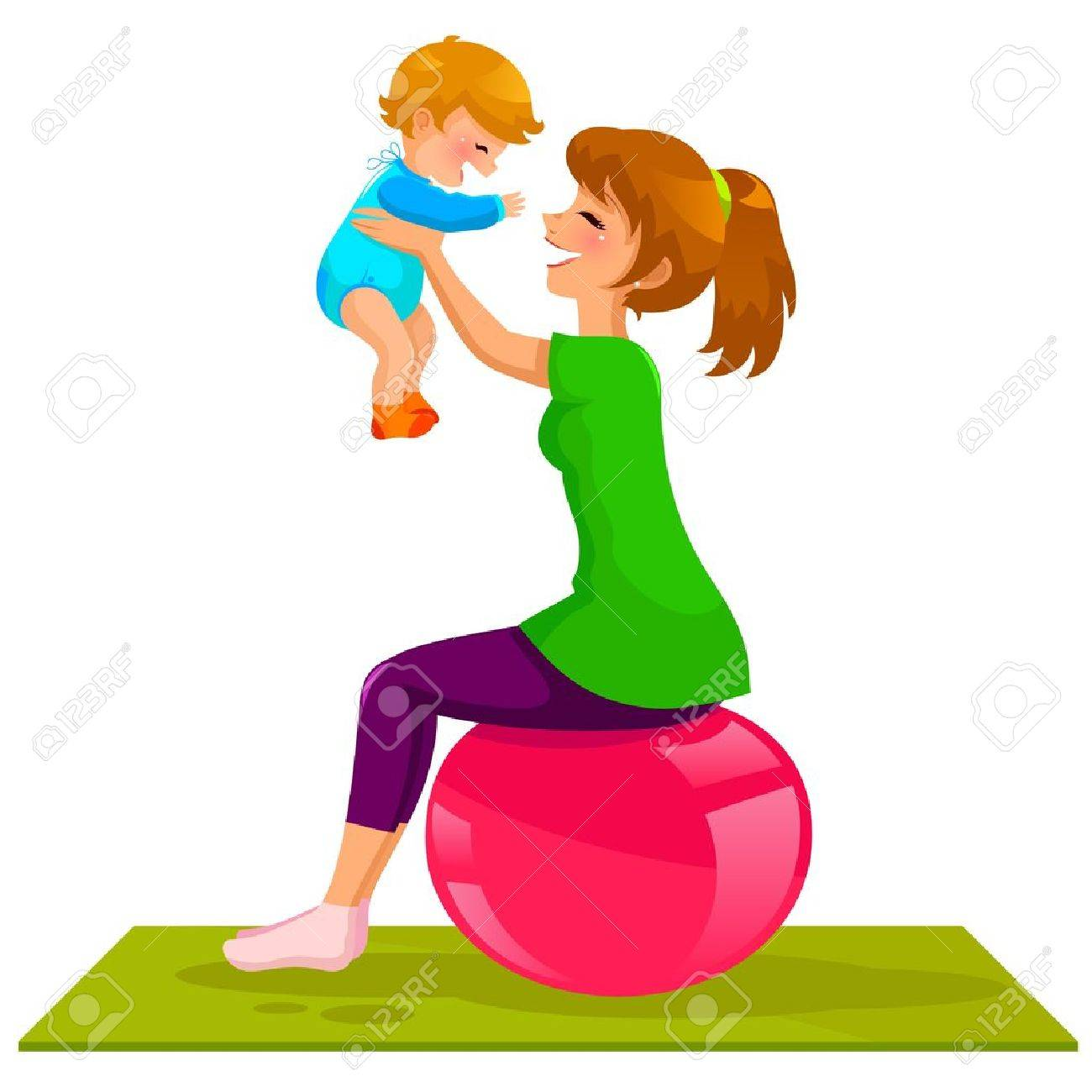 young mother playing with her baby on a gymnastic ball Stock Vector - 18430396