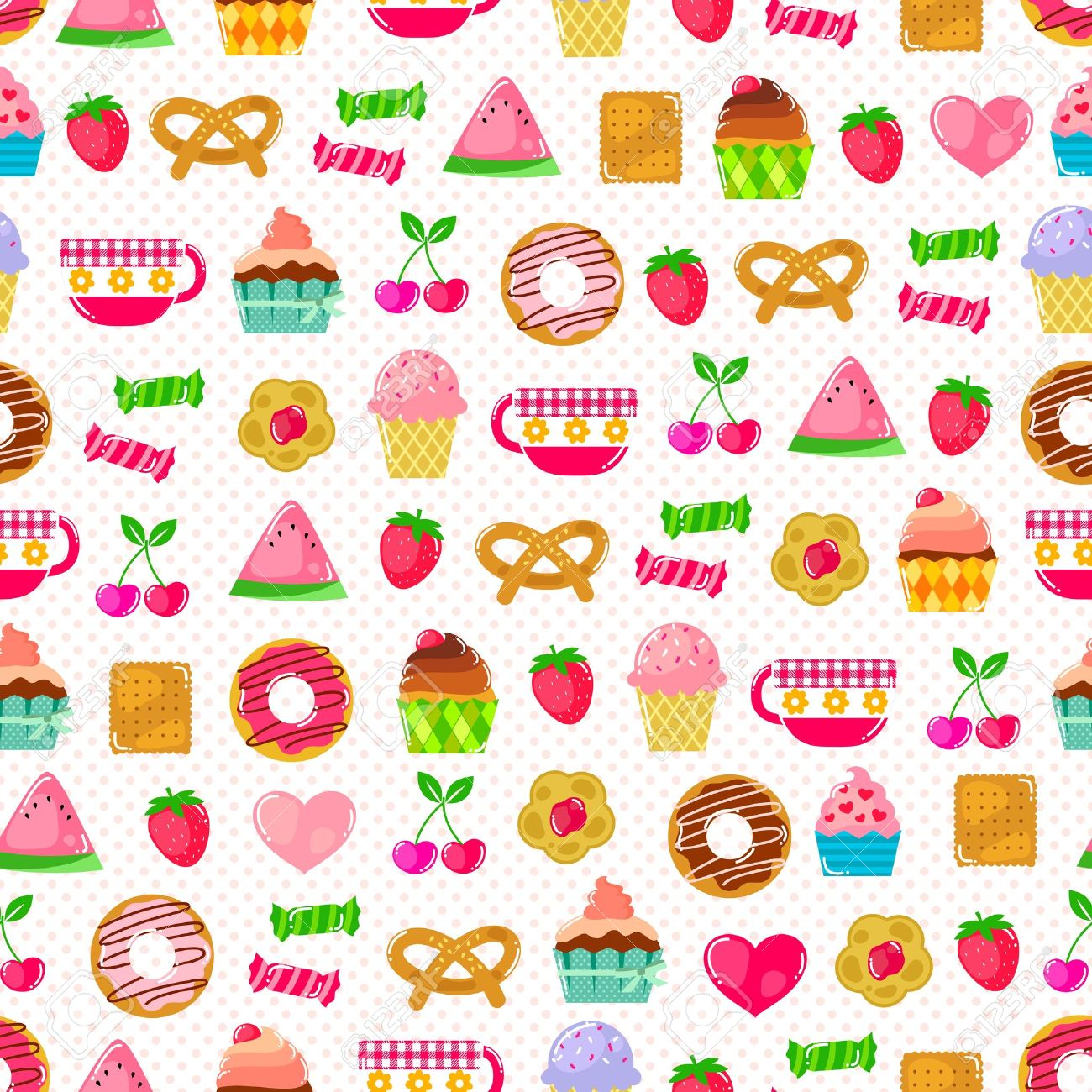 seamless pattern with sweets, fruit and other cute things  Pattern swatch included in the file Stock Vector - 18519988