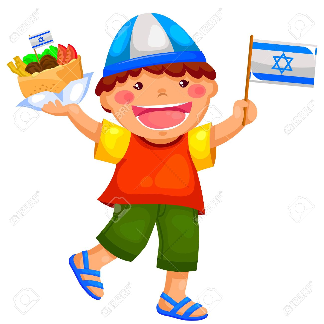 kid holding the Israeli flag and eating falafel Stock Vector - 18675666