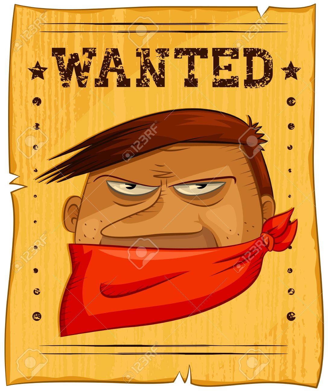 Wild West Poster With A Wanted Bandit Royalty Free Cliparts, Vectors ...
