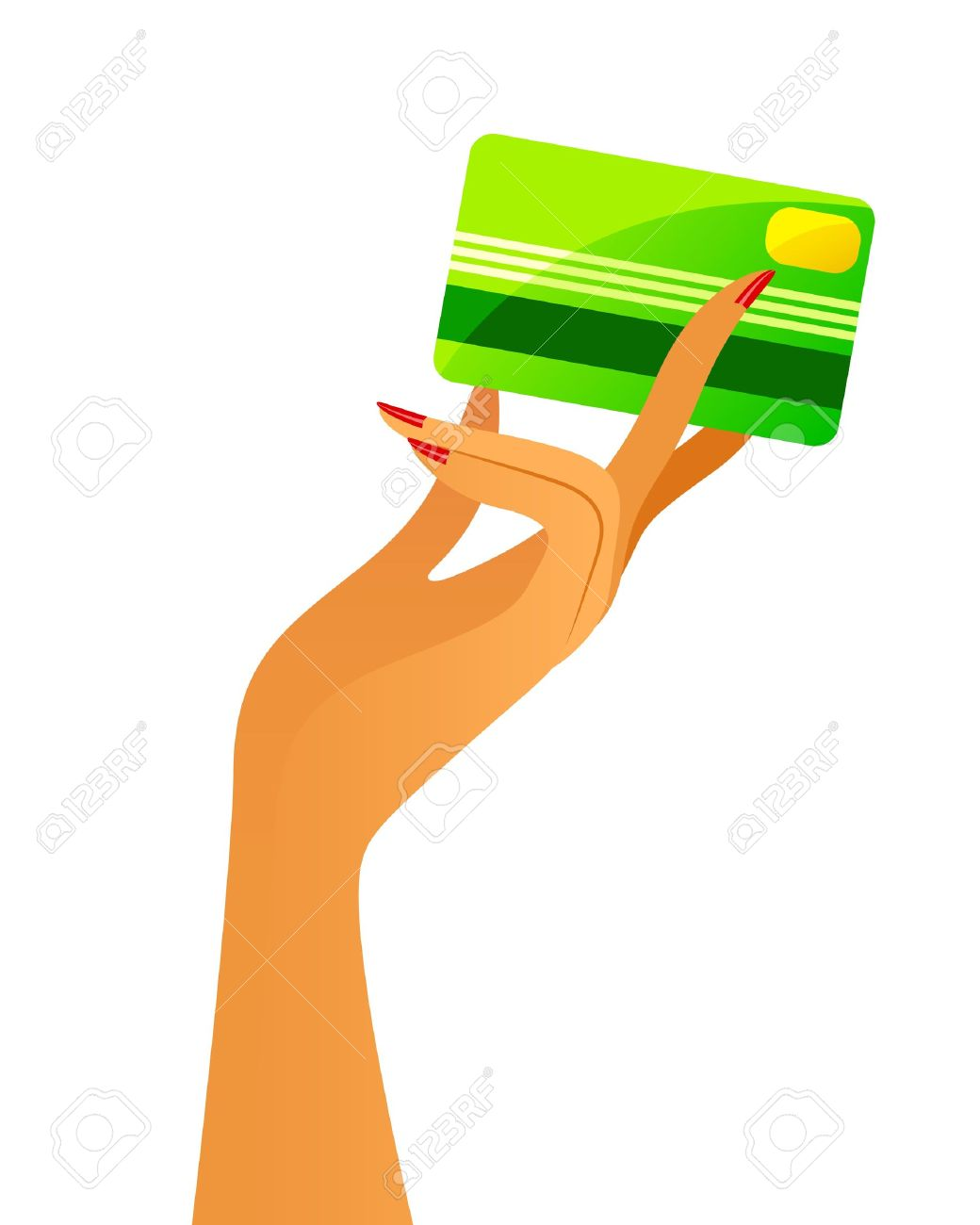 woman s hand holding a credit card Stock Vector - 20406427