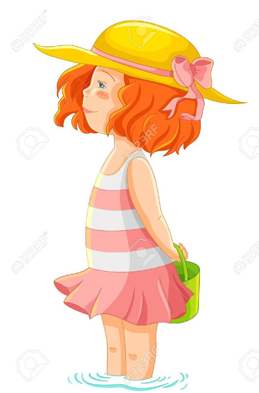 little girl in summer clothes standing in water - 20744287
