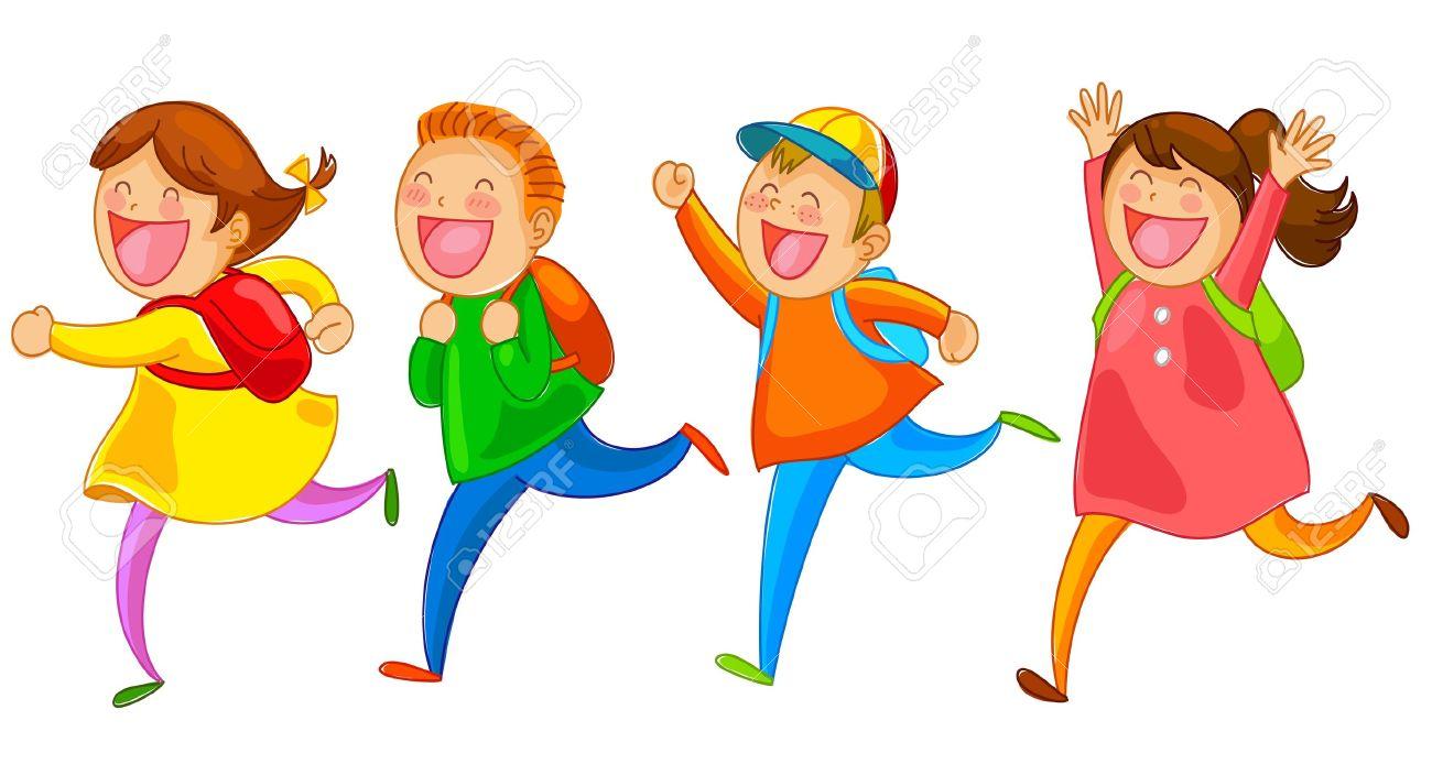 school kids running happily Stock Vector - 20744289