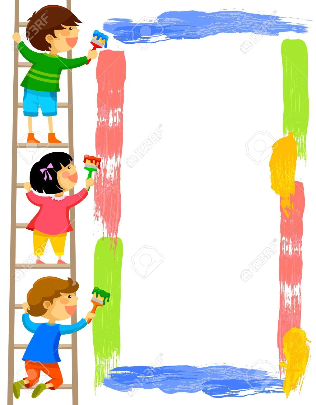 dbcf2d914267ba kids standing on a ladder and painting a colorful frame Stock Vector -  20920145